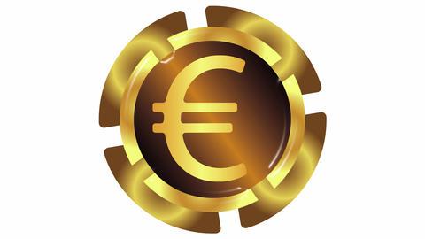 Gold euro on white Animation
