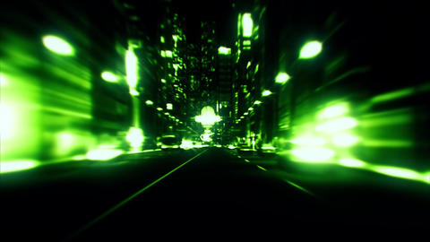 3D Green City Night Lights VJ Loop Motion Graphic Background Animation