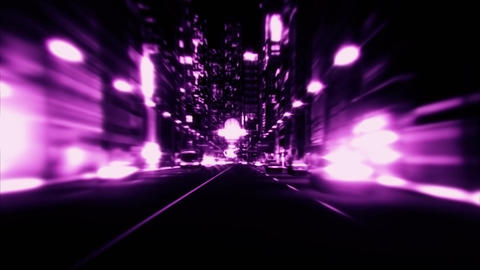 3D Purple City Night Lights VJ Loop Motion Graphic Background Animation