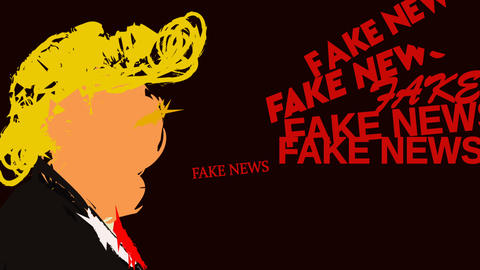 animation of the US president who says fake news Live Action