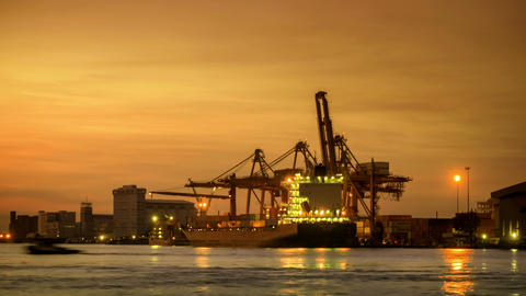 4k Time lapse, Unloading Cargo Container at Port at dawn at Chao Phraya River Footage