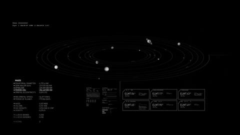 Solar System Shematic HUD Animation 4K Animation