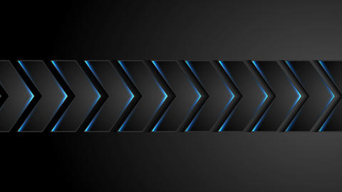 Black technology arrows with blue neon light video animation Stock Video Footage