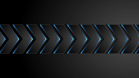 Black technology arrows with blue neon light video animation Animation