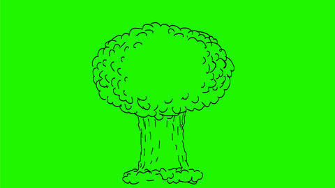 Atomic Bomb Exploding Drawing 2D Animation Stock Video Footage