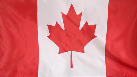 Textile flag of Canada Footage