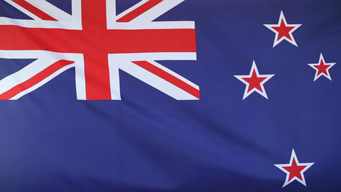 Slow motion of New Zealand flag Footage