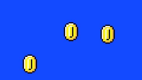 Retro Video Game Arcade Golden Coins on a Blue Screen Live Action