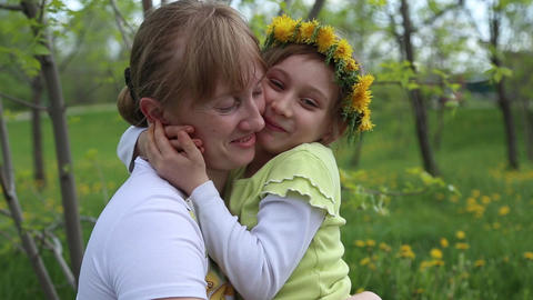 The girl hugs her mother Footage