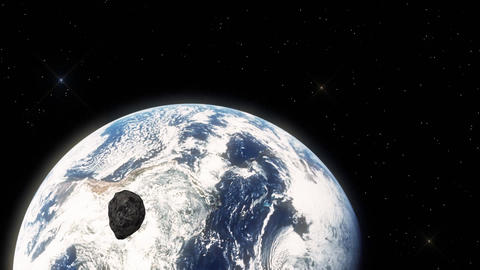 Illustration of an Asteroid Hovering Fast in Outer Space Towards Earth Footage