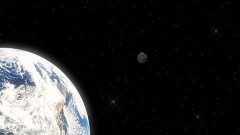 Illustration of an Meteorite Hovering Fast in Outer Space Towards Earth Footage