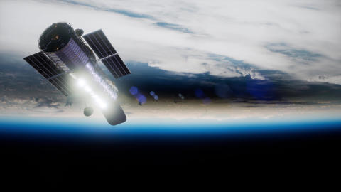 Hubble Space Telescope orbiting Earth. Elements of this image furnished by NASA ビデオ