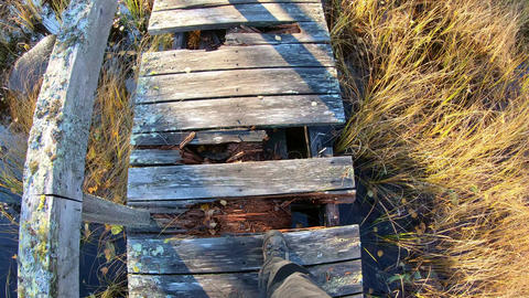 Stepping over broken boards of wooden bridge Live Action