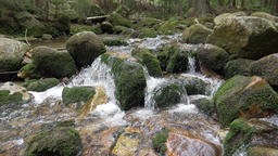Beautiful mountain river with a flowing water. Slow motion Live Action