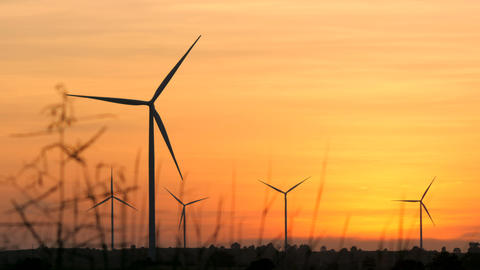 Silhouette scenic of wind turbine for electric generation eco and clean power in ビデオ