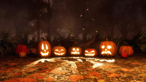 Jack-o-lantern pumpkins and magic lights at night Animation