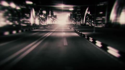 3D B&W Night City Road VJ Loop Motion Graphic Background Animation