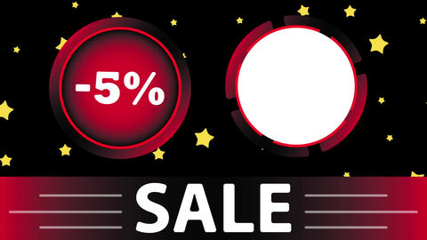 Red sale 5 percent and star Animation