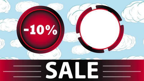 Red sale 10 percent and clouds Animation
