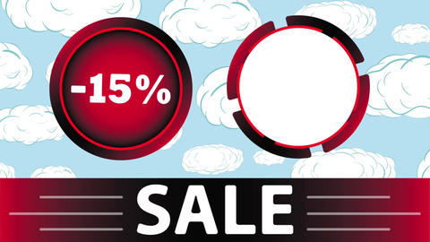 Red sale 15 percent and clouds Animation