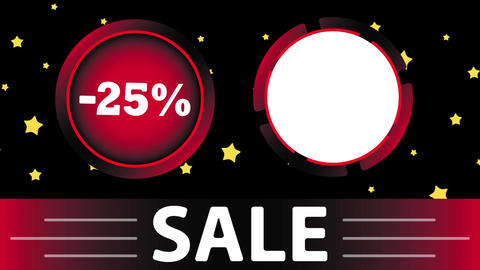 Red sale 25 percent and star Animation