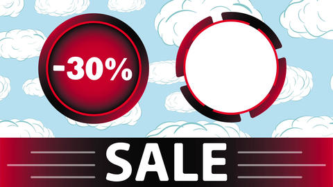 Red sale 30 percent and clouds Animation