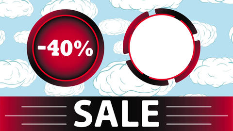 Red sale 40 percent and clouds Animation
