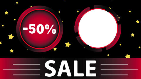 Red sale 50 percent and star Animation