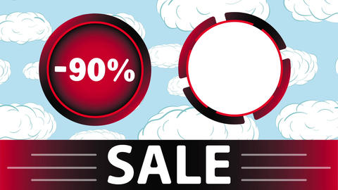 Red sale 90 percent and clouds Animation
