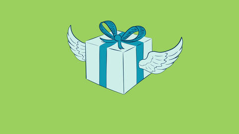 Winged blue gift on green Animation