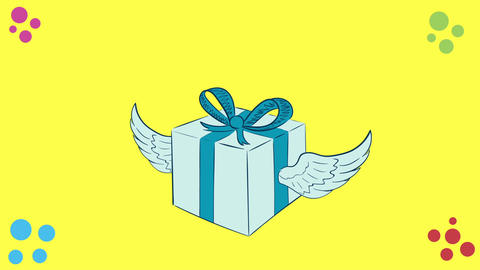 Winged blue gift on yellow Animation