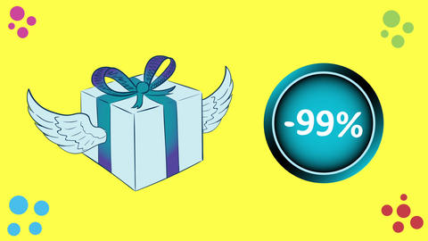 Winged gift and sale 99 percent CG動画素材