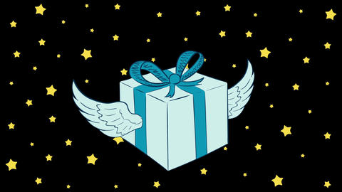Winged gift box and stars Animation