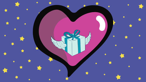 Winged gift in heart and stars Animation