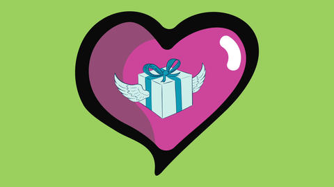 Winged gift in heart on green Animation