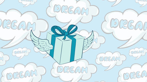 Winged gift in icon and dreams Animation