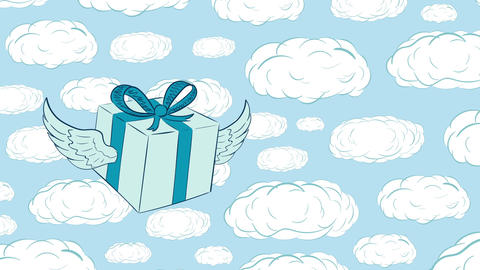 Winged gift in icon and sky Animation