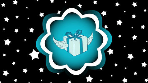 Winged gift in icon and stars Animation