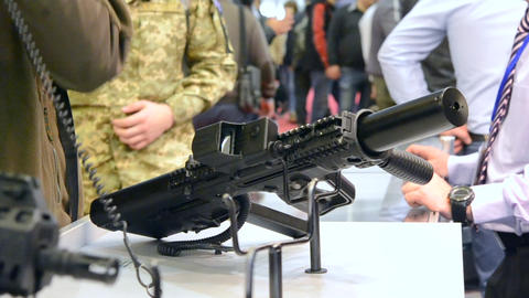 Firearms gun submachine sniper rifle close-up Live Action