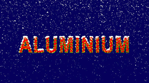 New Year text Element of periodic table ALUMINIUM. Snow falls. Christmas mood, Animation