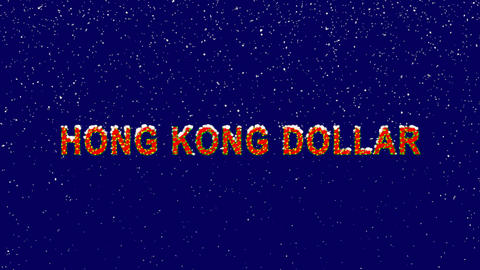 New Year text Currency name HONG KONG DOLLAR. Snow falls. Christmas mood, looped Animation