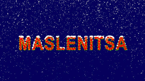 New Year text celebration MASLENITSA. Snow falls. Christmas mood, looped video. Animation