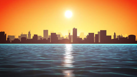 4k Sunset Ocean With Cityscape Animation