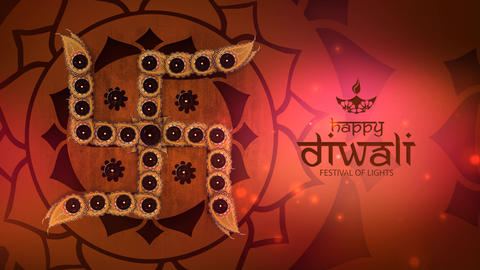 Hindu Swastika with Happy Diwali Title Animación