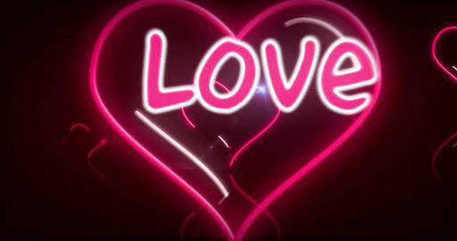 Heart neon lights with love 3D fly Animación