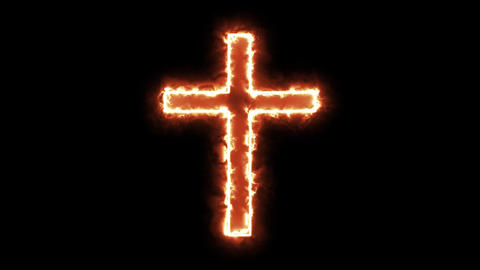 4k Christian Cross Symbol Burning Animation