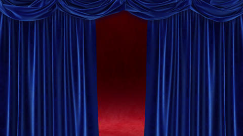 Blue curtain with on red background Animation