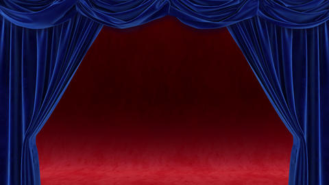 Blue curtain with on red background Stock Video Footage