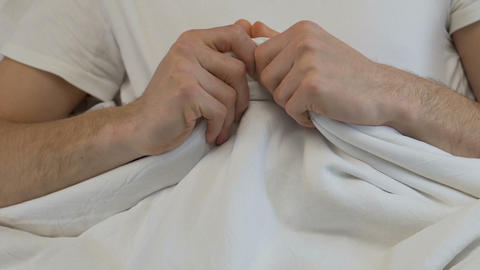 Nervous male hands blanket, sleep disorder, anxiety,... Stock Video Footage
