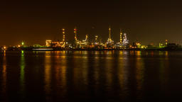 Oil Refinery Station at morning, Thailand. (Time Lapse) 영상물